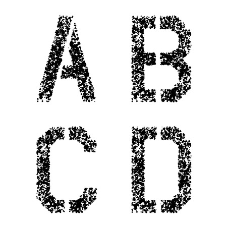 vector stencil angular spray font letters A B C D