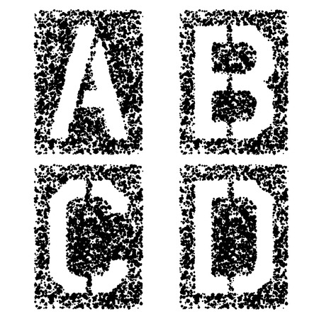 stenciled: vector stencil angular spray font letters A B C D
