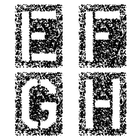 vector stencil angular spray font letters E F G H Vectores