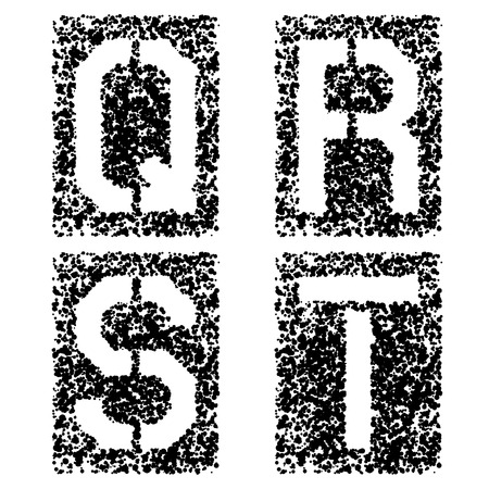 vector stencil angular spray font letters Q R S T Vector