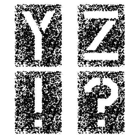 vector stencil angular spray font letters Y Z Vector