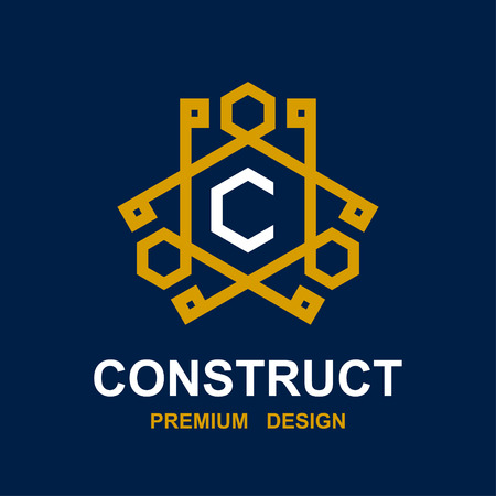construct: vector abstract construct pictogram design Illustration