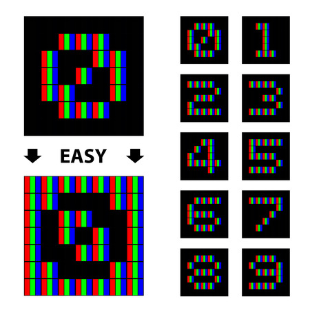 six point: vector RGB pixel numbers font Illustration