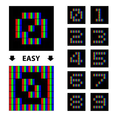 rgb: vector RGB pixel numbers font Illustration