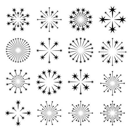 Vettore starburst simboli neri Archivio Fotografico - 37076377