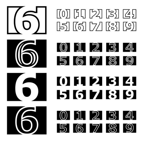 contour: vector square contour numbers font Illustration