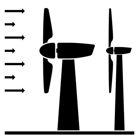 windpower: vector wind power plant black pictograms Illustration