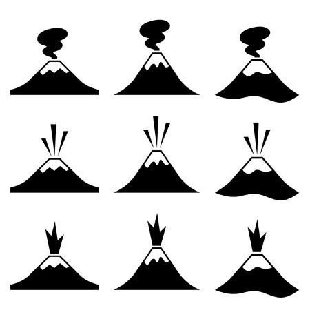 vector active erupting volcano pictograms Vector