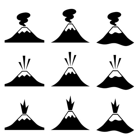 craters: vector active erupting volcano pictograms