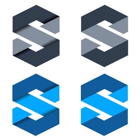 s: vector abstract paper letter S symbols Illustration
