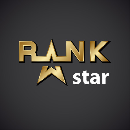 rank: vector rank golden star inscription icon