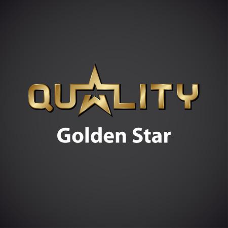 vector quality golden star inscription icon Vector