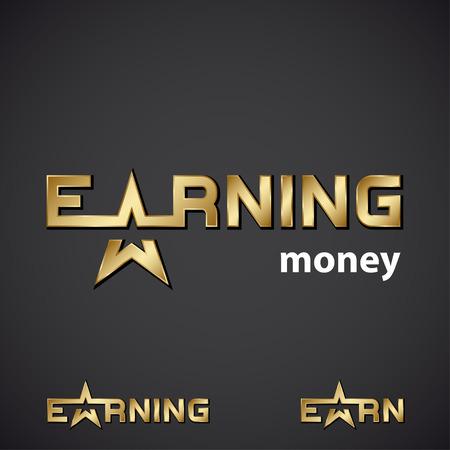 earning: vector earning golden star inscription icon Illustration