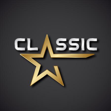 silver star: vector classic golden star inscription icon