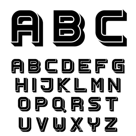 3d alphabet letter abc: vector 3D black simple font alphabet letters