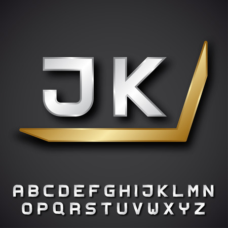 initials: EPS10 vector silver golden alphabet initials Illustration
