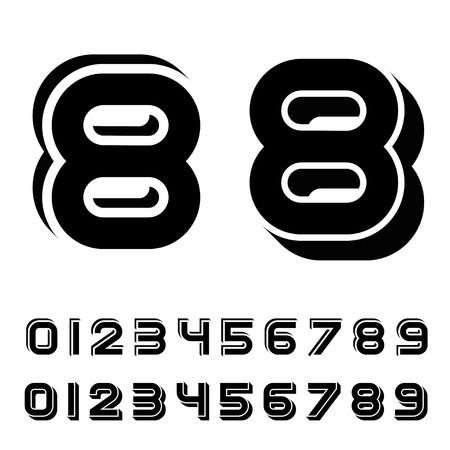 vector 3D black simple numbers font Vector