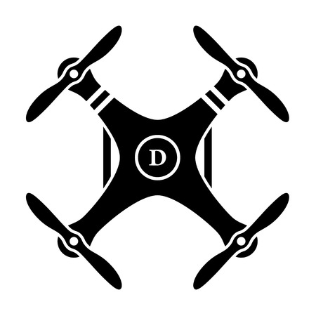 drone: vector rc drone quadcopter black symbol