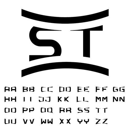 initials: vector black simple alphabet initials Illustration