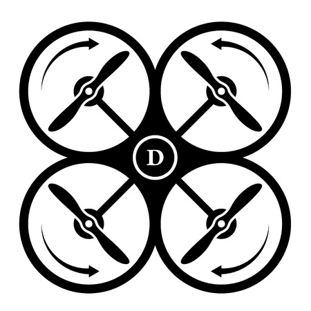 rotation: vector drone quadcopter direction of rotation black symbol