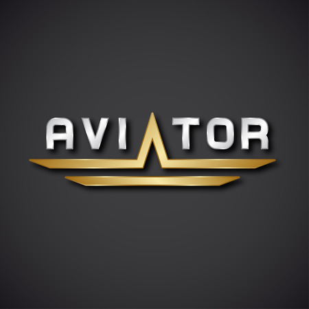pilot wings: EPS10 vector aircraft aviator inscription icon Illustration