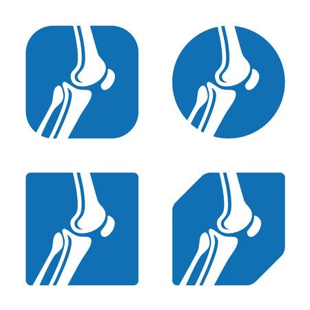 osteoporosis: vector de la rodilla humana iconos conjuntas Vectores