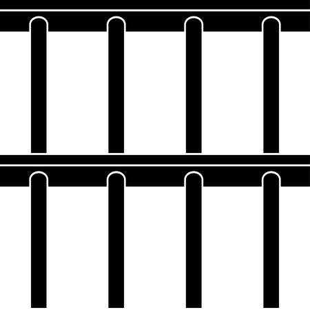 condemned: vector jail bars black symbol seamless background Illustration