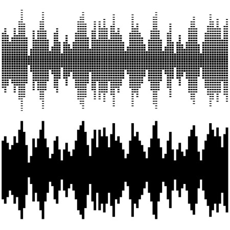 square dancing: vector black square sound wave patterns Illustration