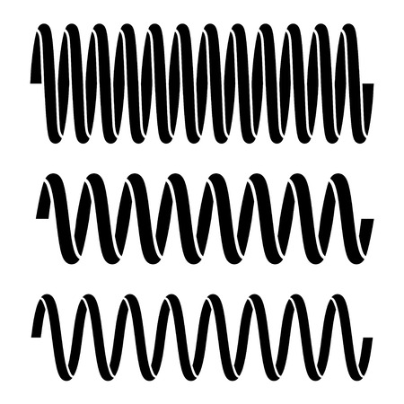 spiral vector: vector tension spring black symbols