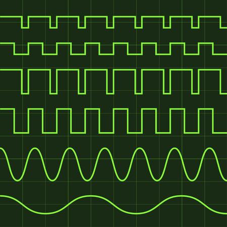 vector oscilloscope screen editable lines Illustration