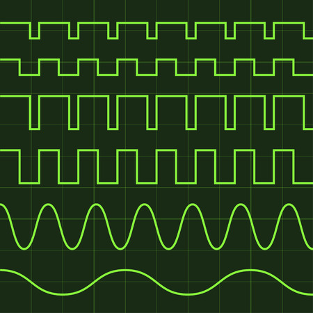 vector oscilloscope screen editable lines Ilustrace