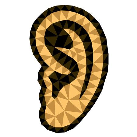 triangular: vector triangular human ear symbols