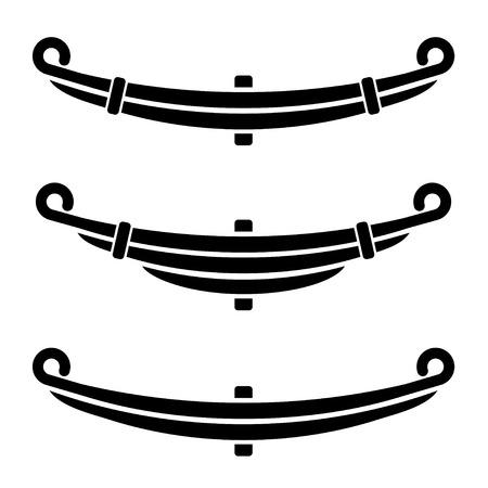 springy: vector vehicle leaf spring black symbols
