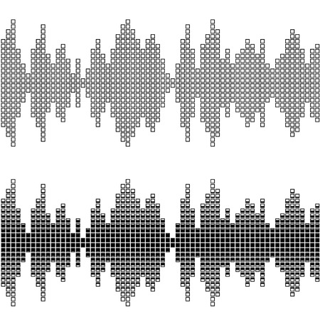 sonic: vector black square sound wave patterns Illustration
