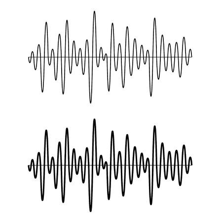 vector black seamless sinusoidal sound wave lines Illustration