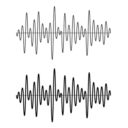 audio wave: vector black seamless sinusoidal sound wave lines Illustration