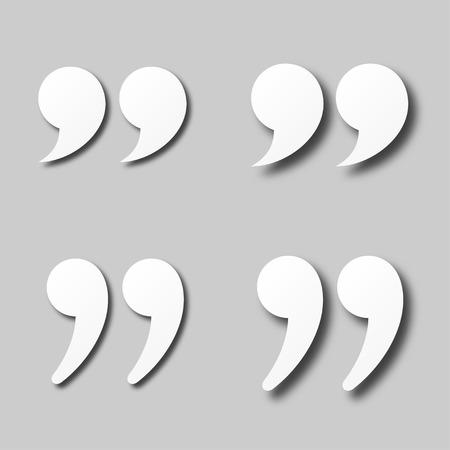 marks: EPS10 vector blank white paper quotation marks Illustration