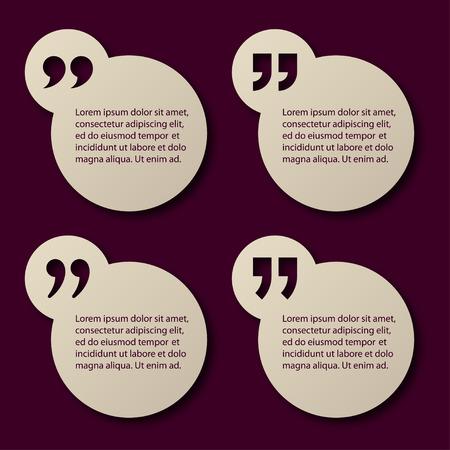 blank tag: EPS10 vector paper quotation mark circle frames Illustration