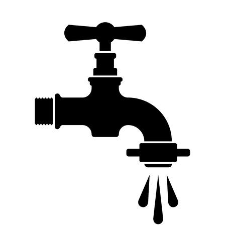 Vektor schwarzen Retro Wasser-Hahn-Hahn-Symbol
