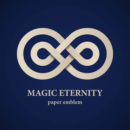 infinity icon: vector abstract magic eternity paper emblem Illustration