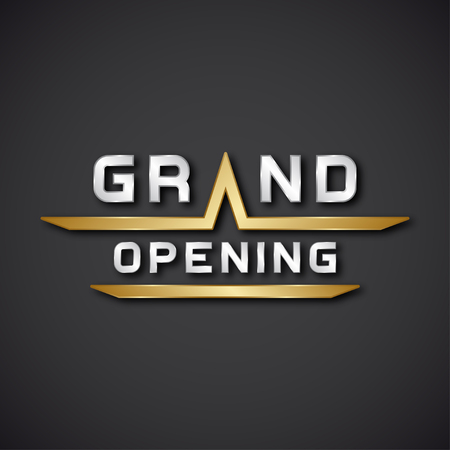 grand sale icon: EPS10 vector grand opening text icon