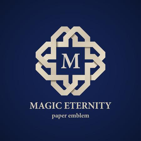 eternity: vector abstract magic eternity paper letter emblem