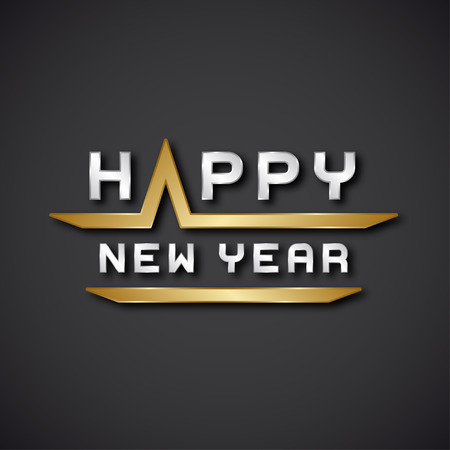 text year: vector happy new year text icon Illustration