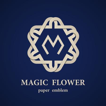 mystical: vector abstract magic paper flower eternity emblem