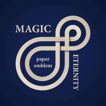 抽象的な魔法永遠紙のベクトルエンブレム  イラスト・ベクター素材