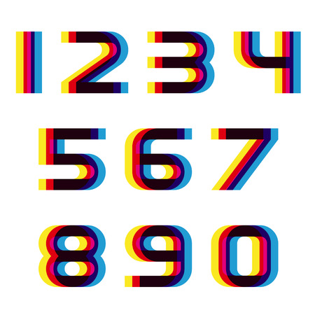 distorted: EPS10 vector distortion blur font numbers