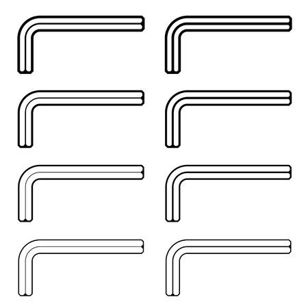 screw key: vector allen unbrako inbus key black line symbols