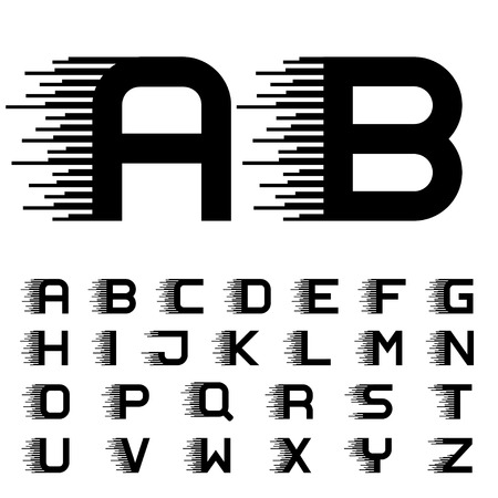 vector speed motion lines font alphabet letters