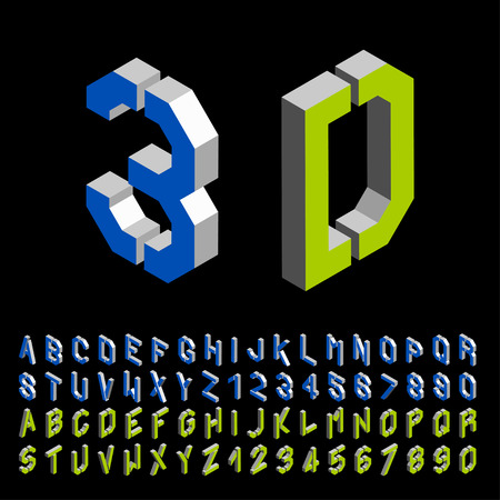 numeric character: vector 3D stencil angular isometric font alphabet