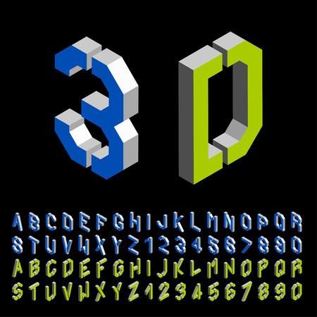 alphabet graffiti: vettore 3D stencil angolare alfabeto carattere isometrica